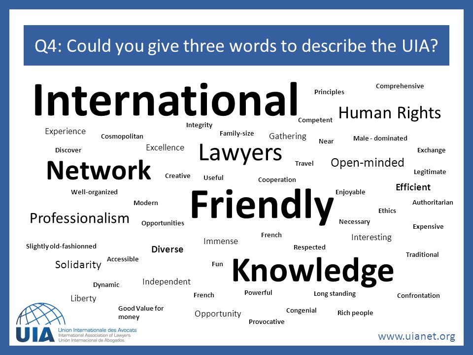 www.uianet.org Q4: Could you give three words to describe the UIA.