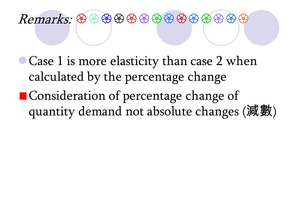 Remarks:  Case 1 is more elasticity than case 2 when calculated by the percentage change Consideration of percentage change of quantity demand not absolute changes ( 減數 )