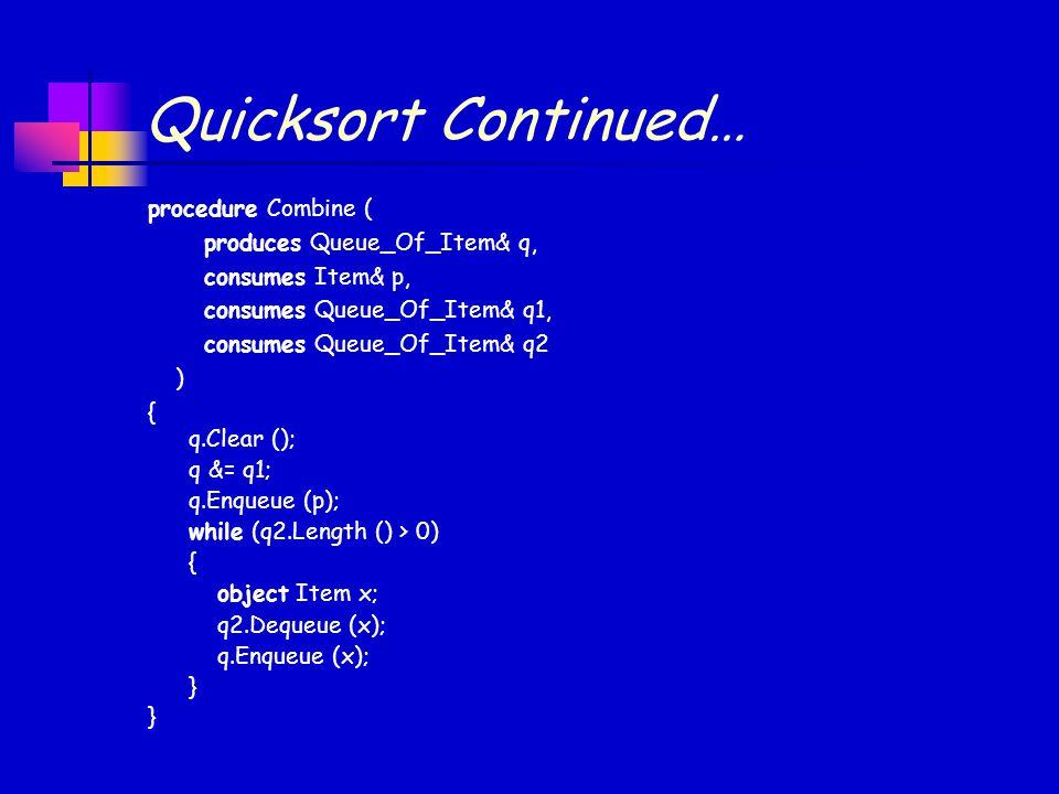 Quicksort Continued… procedure Combine ( produces Queue_Of_Item& q, consumes Item& p, consumes Queue_Of_Item& q1, consumes Queue_Of_Item& q2 ) { } q.Clear (); q &= q1; q.Enqueue (p); while (q2.Length () > 0) { object Item x; q2.Dequeue (x); q.Enqueue (x); }