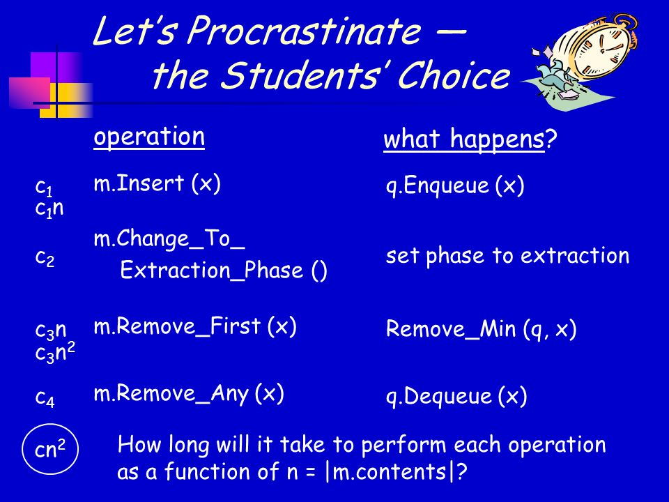 Let's Procrastinate — the Students' Choice operation m.Insert (x) m.Change_To_ Extraction_Phase () m.Remove_First (x) m.Remove_Any (x) what happens.