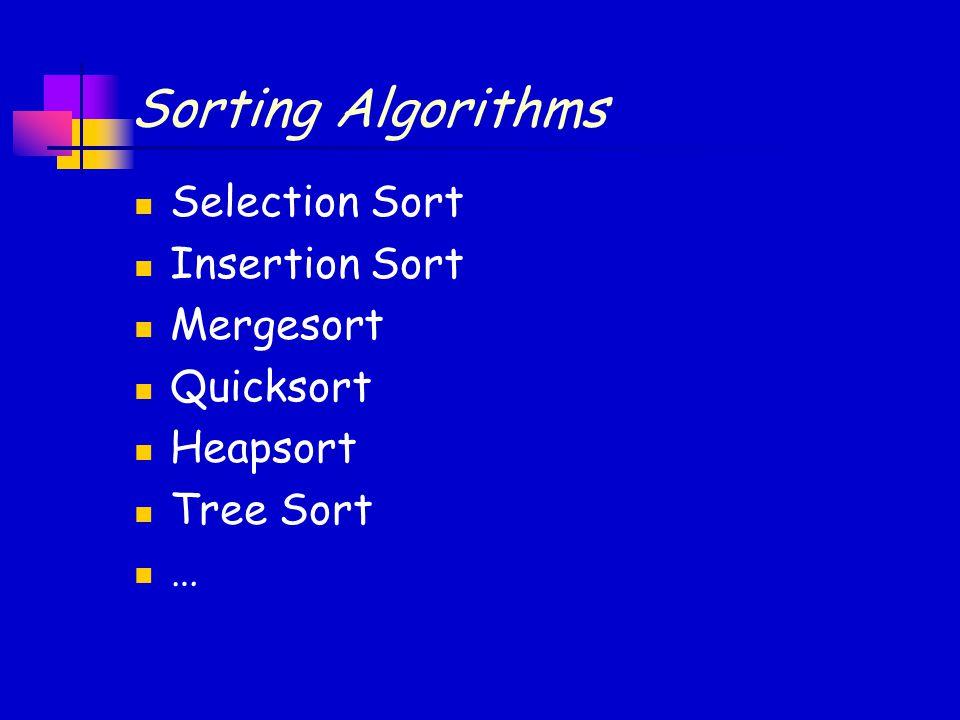 Sorting Algorithms Selection Sort Insertion Sort Mergesort Quicksort Heapsort Tree Sort …