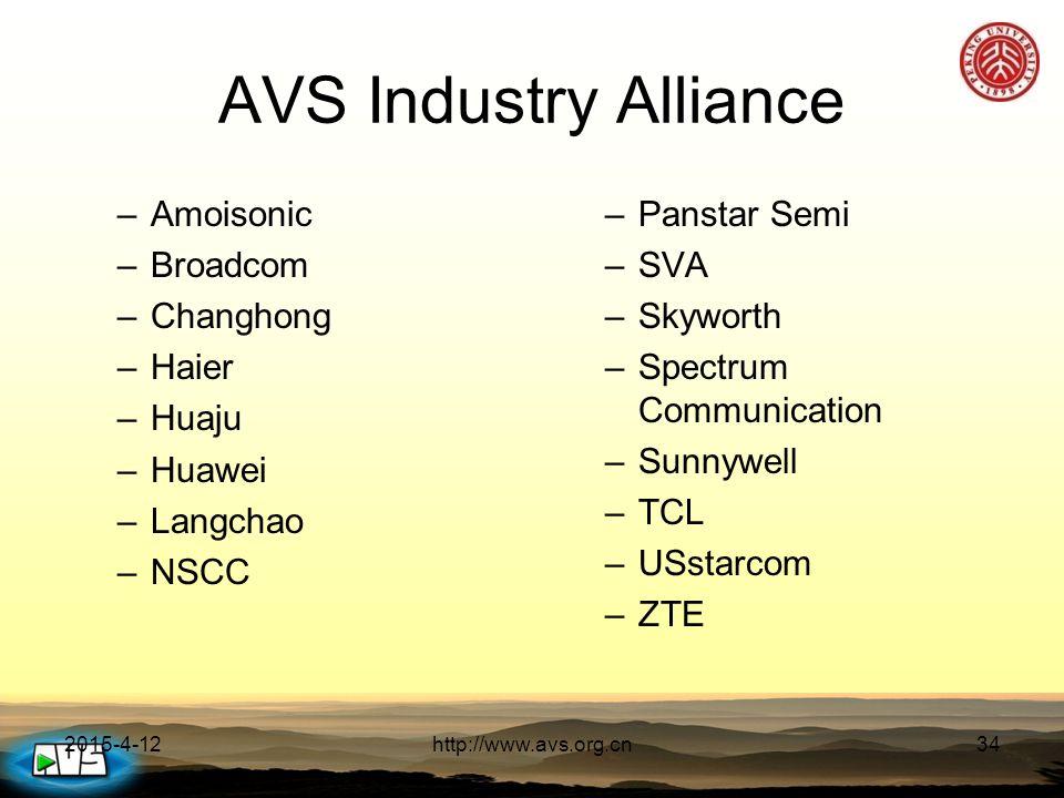 2015-4-12http://www.avs.org.cn34 AVS Industry Alliance –Amoisonic –Broadcom –Changhong –Haier –Huaju –Huawei –Langchao –NSCC –Panstar Semi –SVA –Skyworth –Spectrum Communication –Sunnywell –TCL –USstarcom –ZTE
