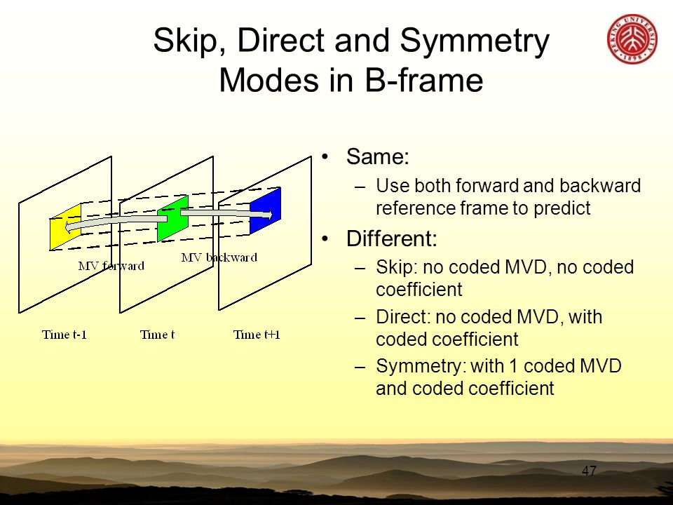 47 Skip, Direct and Symmetry Modes in B-frame Same: –Use both forward and backward reference frame to predict Different: –Skip: no coded MVD, no coded