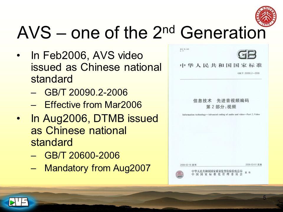 2015-4-12 AVS1 Family AVS Parts 国家标准计划号 STD Number 小组草案 ( WD ) 工作组 草案 (CD) 最终草 案 (FCD) 标准送审 稿( FD ) 国家标准发布 实施( GB ) AVS1-P1 (系统 - 广播) 20051304-T-3392003.102003.122006.102007.03 AVS1-P2 ( J-profile ) 20032265-T-3392003.102003.122004.42004.8 2006.2 AVS1-P2 ( X-profile ) 20032265-T-3392005.92006.32007.12 AVS1-P2 ( S-profile ) 20051305-T-3392007.122008.32008.62008.9 AVS1-P3 (Audio-Stereo)20051305-T-3392004.122005.32005.122006.4 AVS1-P3 ( M-profile ) 20051305-T-3392005.92005.12 2006.4 AVS1-P4 ( Conformance ) 20051306-T-3392006.91006.122007.3 AVS1-P5 ( Ref.
