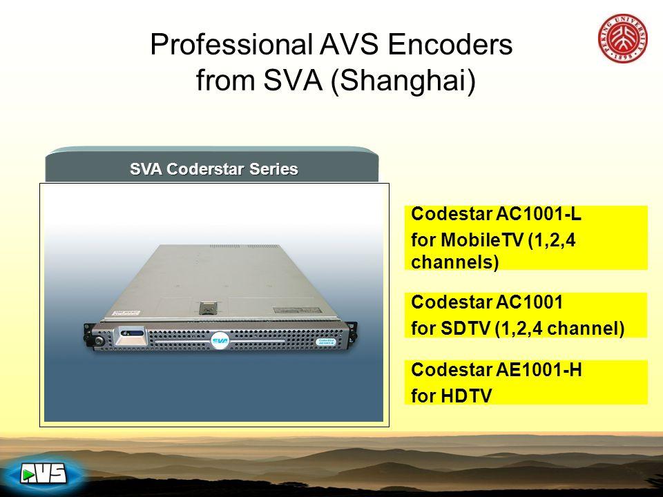 SVA Coderstar Series Codestar AC1001 for SDTV (1,2,4 channel) Codestar AC1001-L for MobileTV (1,2,4 channels) Codestar AE1001-H for HDTV Professional AVS Encoders from SVA (Shanghai)