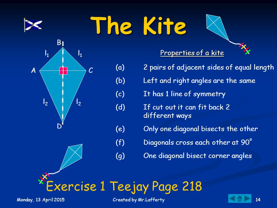 Monday, 13 April 2015 14Created by Mr.Lafferty (b)Left and right angles are the same The Kite (a)2 pairs of adjacent sides of equal length (c)It has 1 line of symmetry CA l1l1 l1l1 Properties of a kite (d)If cut out it can fit back 2 different ways (e)Only one diagonal bisects the other (f)Diagonals cross each other at 90 o (g)One diagonal bisect corner angles B D l2l2 l2l2 Exercise 1 Teejay Page 218