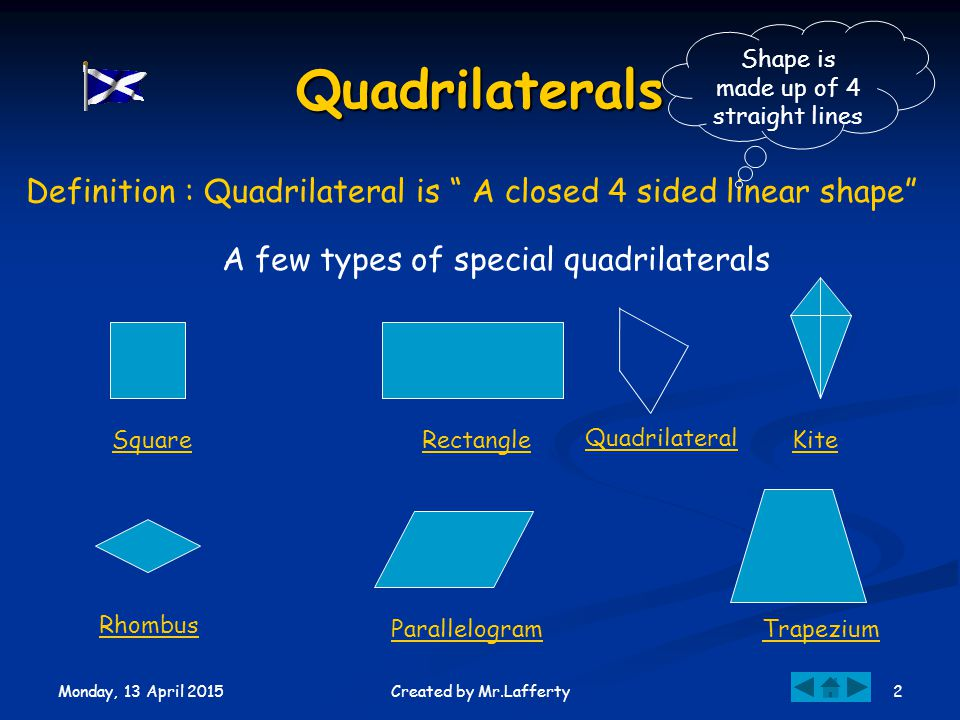 Monday, 13 April 2015 2Created by Mr.Lafferty Quadrilaterals Definition : Quadrilateral is A closed 4 sided linear shape Shape is made up of 4 straight lines A few types of special quadrilaterals Square Trapezium Rectangle Rhombus Kite Parallelogram Quadrilateral