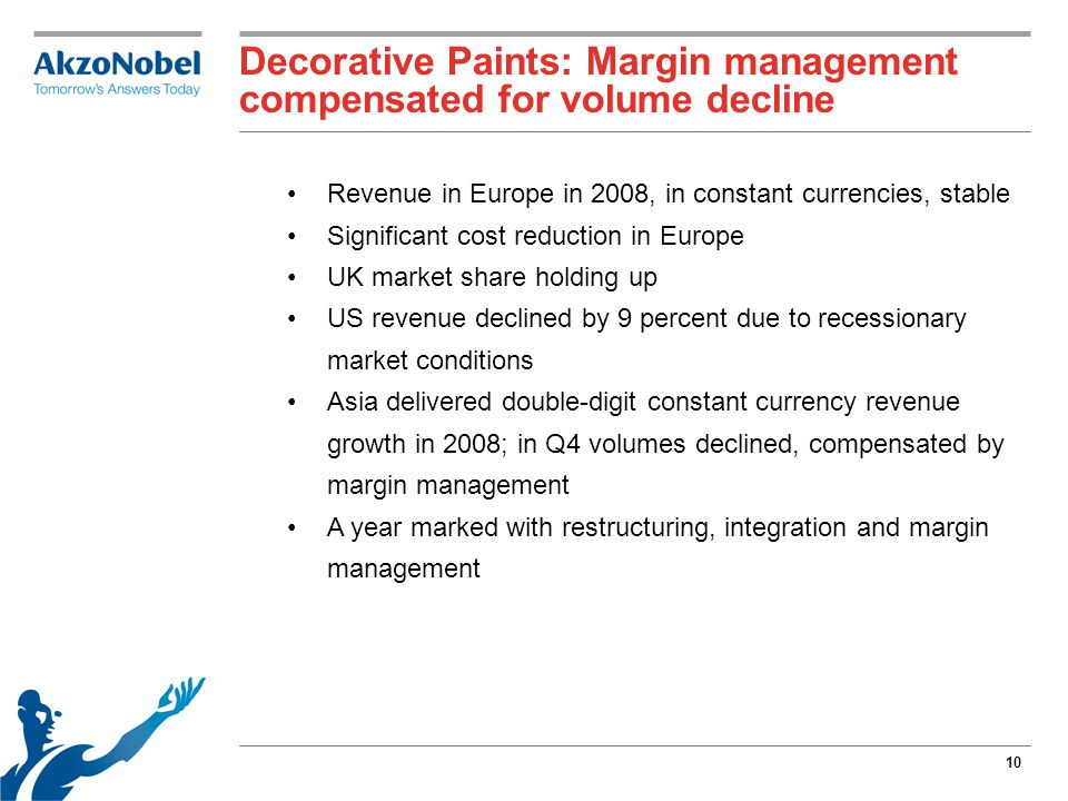 10 Decorative Paints: Margin management compensated for volume decline Revenue in Europe in 2008, in constant currencies, stable Significant cost reduction in Europe UK market share holding up US revenue declined by 9 percent due to recessionary market conditions Asia delivered double-digit constant currency revenue growth in 2008; in Q4 volumes declined, compensated by margin management A year marked with restructuring, integration and margin management