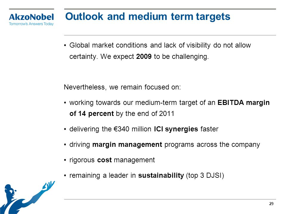 29 Outlook and medium term targets Global market conditions and lack of visibility do not allow certainty.
