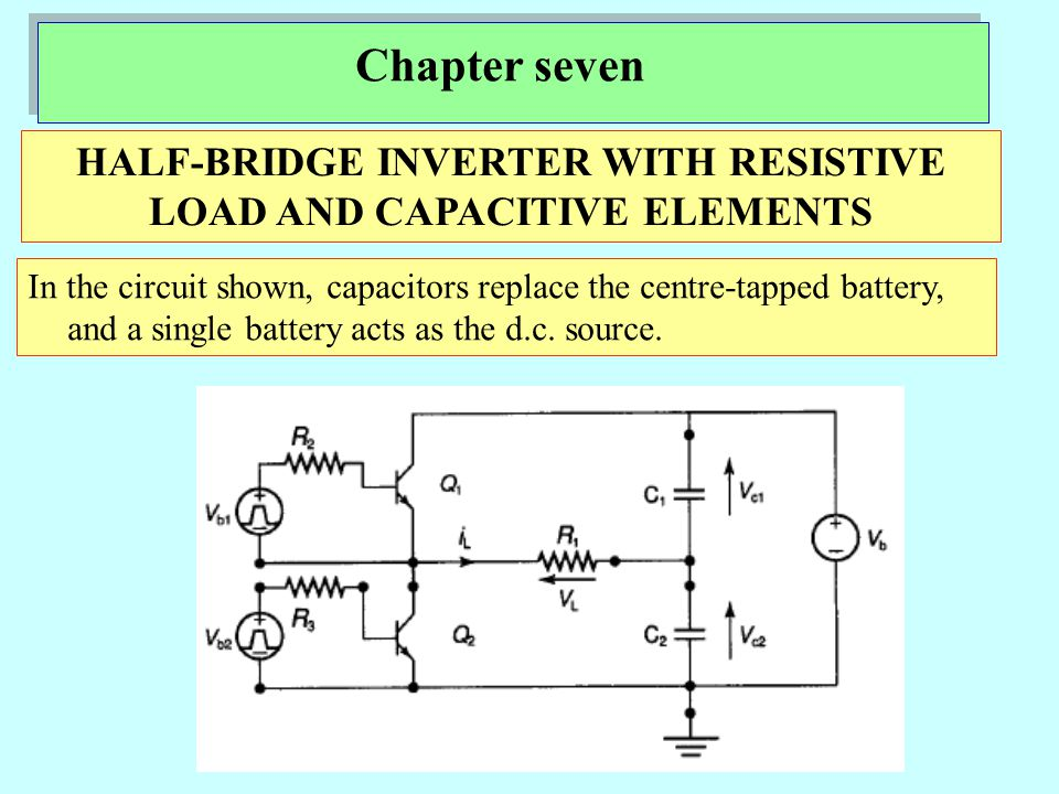Chapter seven HALF-BRIDGE WITH PURELY INDUCTIVE LOAD When negative current reaches its maximum value, Q2 switches off, VL reverses, rising above Vbl and forward biasing diode D1, until load current zero, Q1 will then allow current to grow in the positive direction and the cycle is repeated.
