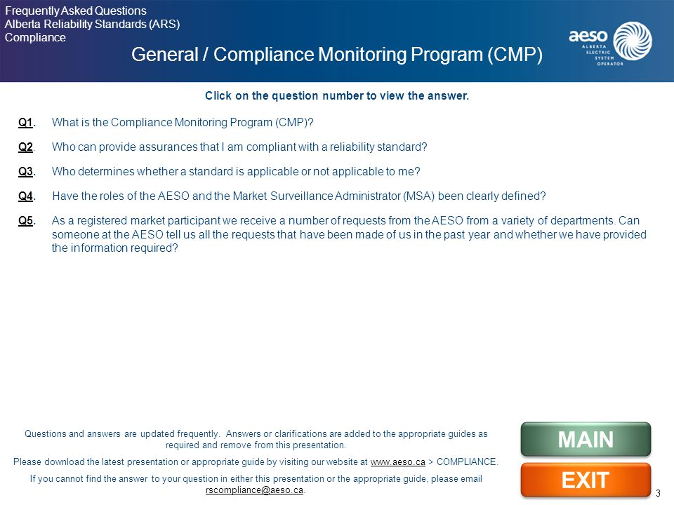 Q1Q1. What is the Compliance Monitoring Program (CMP).