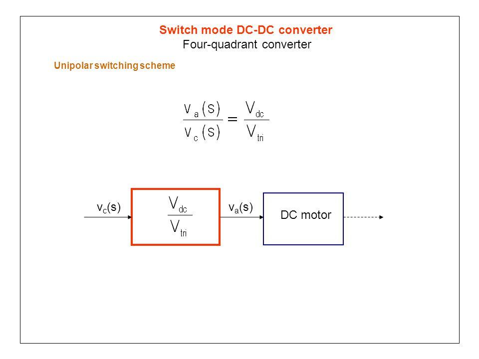Switch mode DC-DC converter Four-quadrant converter Unipolar switching scheme v a (s)v c (s) DC motor