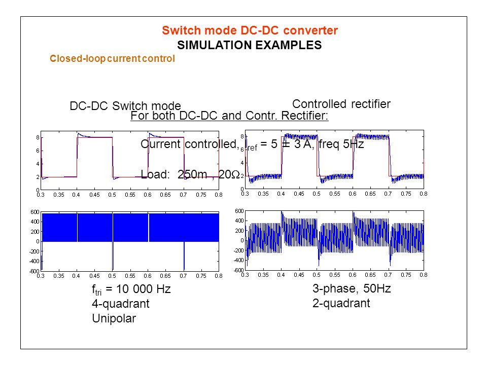 f tri = 10 000 Hz 4-quadrant Unipolar 3-phase, 50Hz 2-quadrant DC-DC Switch mode Controlled rectifier Switch mode DC-DC converter SIMULATION EXAMPLES