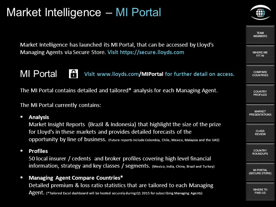 Market Intelligence – MI Portal Market Intelligence has launched its MI Portal, that can be accessed by Lloyd's Managing Agents via Secure Store. Visi