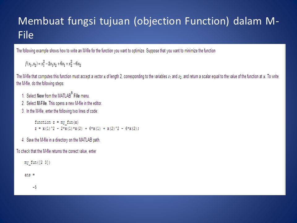 Membuat fungsi tujuan (objection Function) dalam M- File