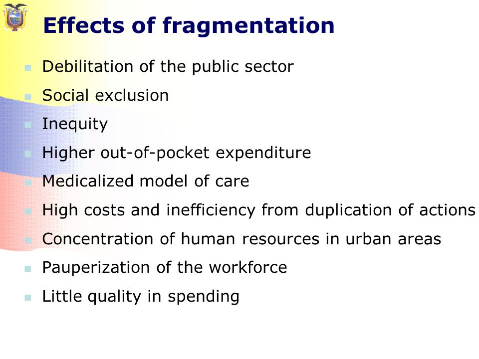 Effects of fragmentation Debilitation of the public sector Social exclusion Inequity Higher out-of-pocket expenditure Medicalized model of care High costs and inefficiency from duplication of actions Concentration of human resources in urban areas Pauperization of the workforce Little quality in spending