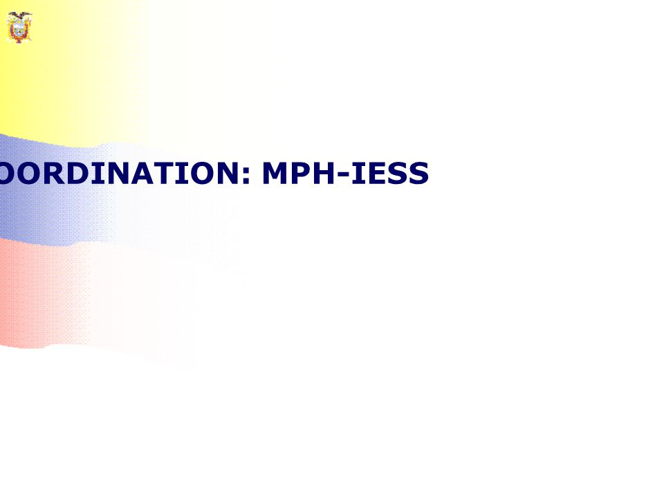 THE PROBLEM OF COORDINATION: MPH-IESS