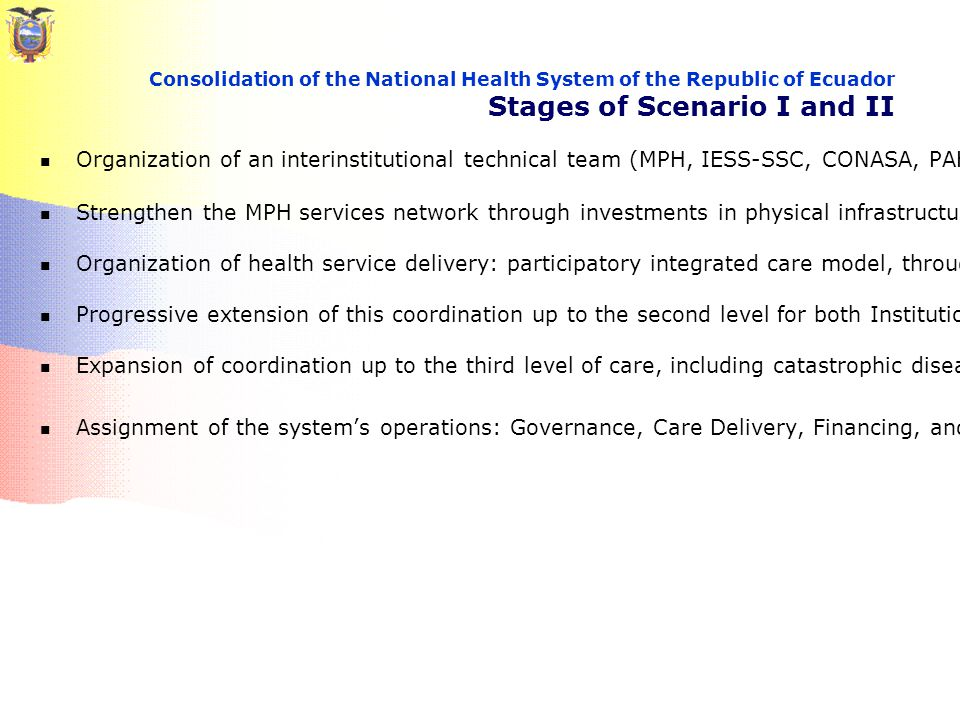 Organization of an interinstitutional technical team (MPH, IESS-SSC, CONASA, PAHO/WHO and others) Strengthen the MPH services network through investments in physical infrastructure, equipment, and human resources Organization of health service delivery: participatory integrated care model, through the operational coordination of primary care Progressive extension of this coordination up to the second level for both Institutions Expansion of coordination up to the third level of care, including catastrophic diseases Assignment of the system's operations: Governance, Care Delivery, Financing, and Insurance