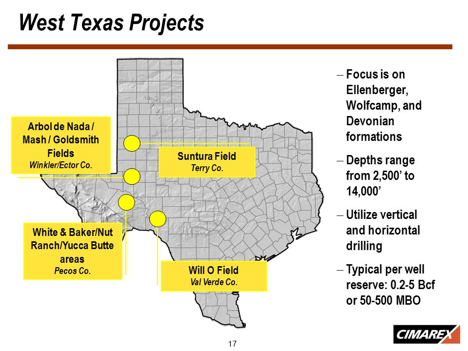 17 West Texas Projects Suntura Field Terry Co. Will O Field Val Verde Co.