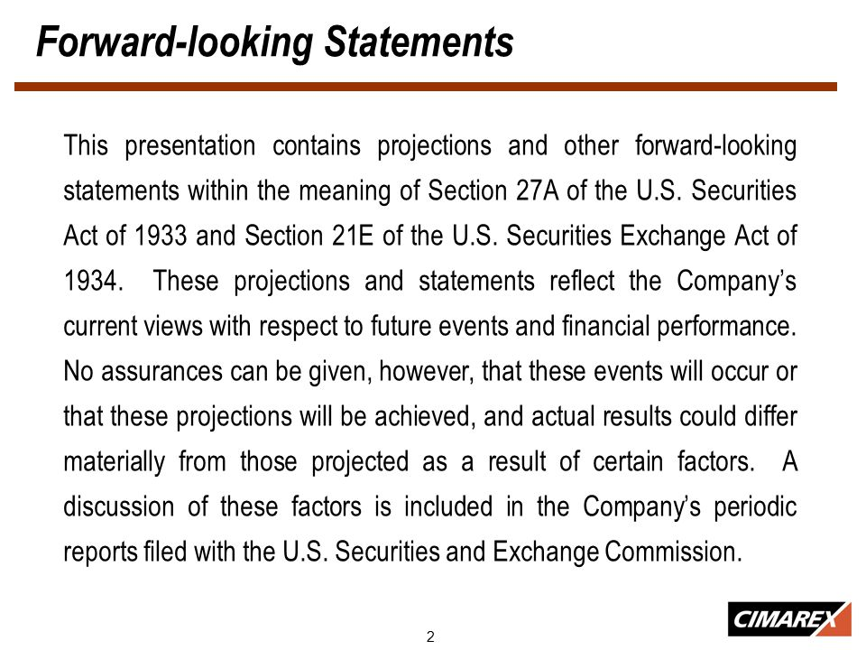 2 Forward-looking Statements This presentation contains projections and other forward-looking statements within the meaning of Section 27A of the U.S.