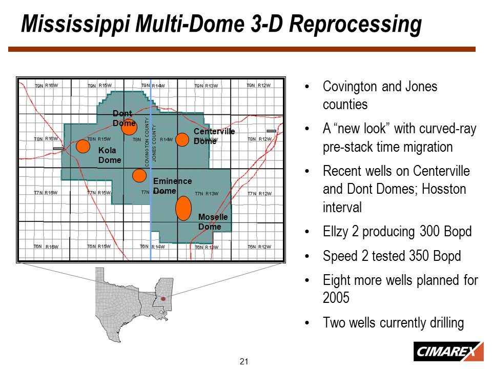 21 Mississippi Multi-Dome 3-D Reprocessing Covington and Jones counties A new look with curved-ray pre-stack time migration Recent wells on Centerville and Dont Domes; Hosston interval Ellzy 2 producing 300 Bopd Speed 2 tested 350 Bopd Eight more wells planned for 2005 Two wells currently drilling Dont Dome Centerville Dome Kola Dome Eminence Dome Moselle Dome