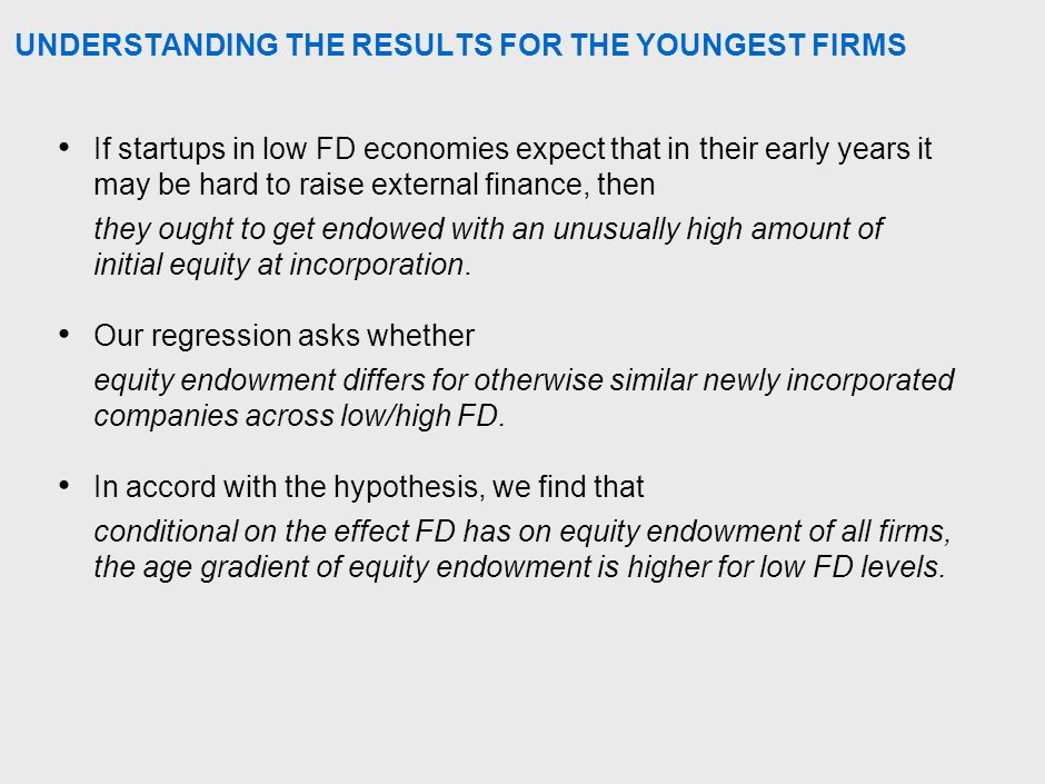 UNDERSTANDING THE RESULTS FOR THE YOUNGEST FIRMS If startups in low FD economies expect that in their early years it may be hard to raise external finance, then they ought to get endowed with an unusually high amount of initial equity at incorporation.
