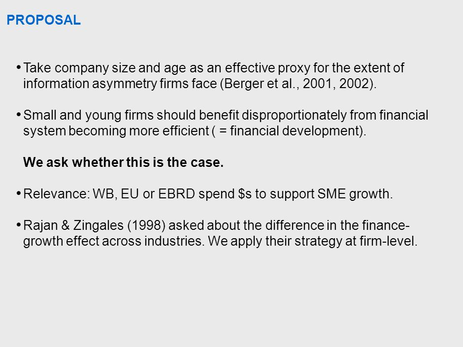 CAVEATS: FIRM ENTRY AND EXIT SELECTION BIASES We look at growth conditional on entry But a poor financial system may prevent entry of profitable firms.
