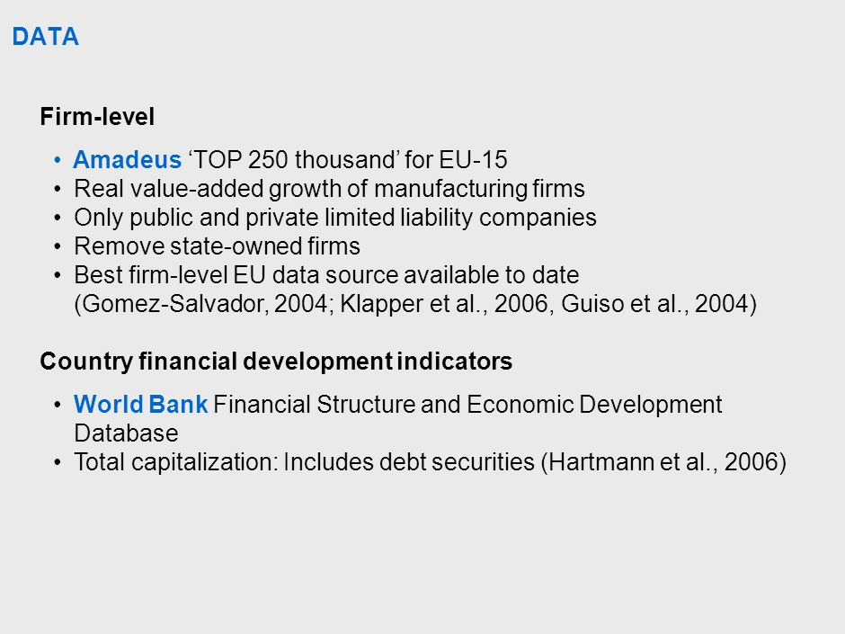 DATA Firm-level Amadeus 'TOP 250 thousand' for EU-15 Real value-added growth of manufacturing firms Only public and private limited liability companies Remove state-owned firms Best firm-level EU data source available to date (Gomez-Salvador, 2004; Klapper et al., 2006, Guiso et al., 2004) Country financial development indicators World Bank Financial Structure and Economic Development Database Total capitalization: Includes debt securities (Hartmann et al., 2006)