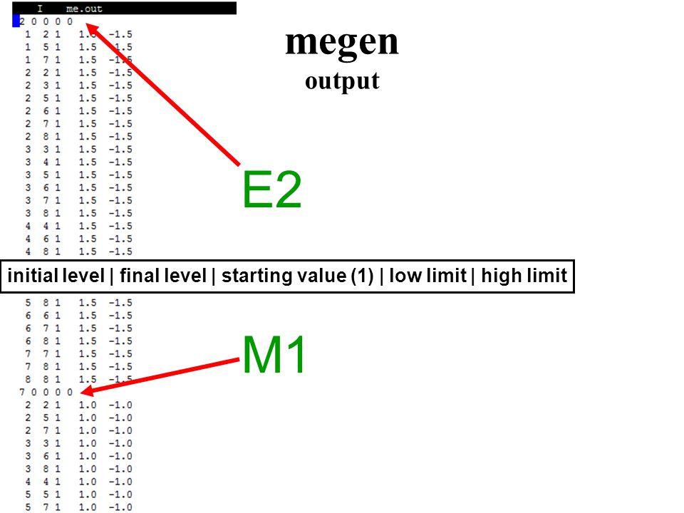 megen output E2 M1 initial level | final level | starting value (1) | low limit | high limit