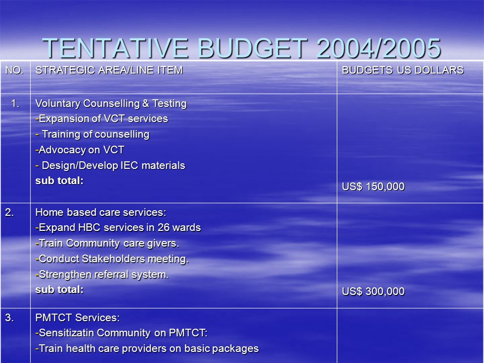 TENTATIVE BUDGET 2004/2005 NO. STRATEGIC AREA/LINE ITEM BUDGETS US DOLLARS 1. Voluntary Counselling & Testing -Expansion of VCT services - Training of