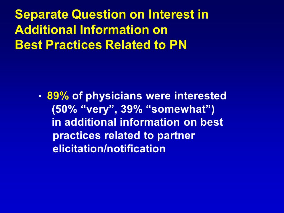 "Separate Question on Interest in Additional Information on Best Practices Related to PN 89% of physicians were interested (50% ""very"", 39% ""somewhat"")"