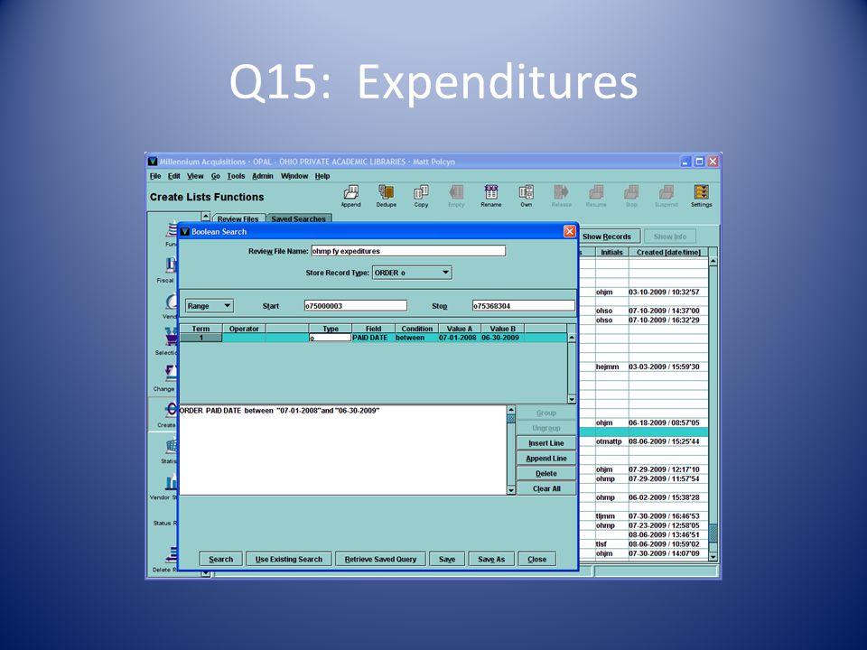 Q15: Expenditures