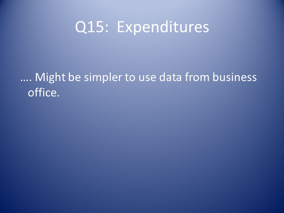 …. Might be simpler to use data from business office.