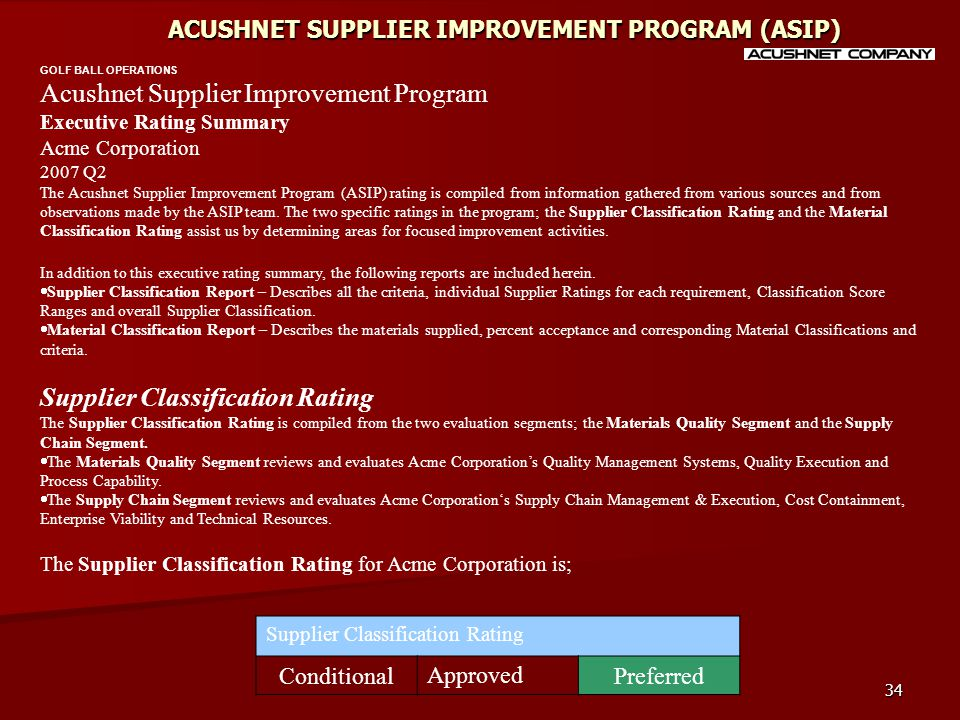34 ACUSHNET SUPPLIER IMPROVEMENT PROGRAM (ASIP) GOLF BALL OPERATIONS Acushnet Supplier Improvement Program Executive Rating Summary Acme Corporation 2007 Q2 The Acushnet Supplier Improvement Program (ASIP) rating is compiled from information gathered from various sources and from observations made by the ASIP team.