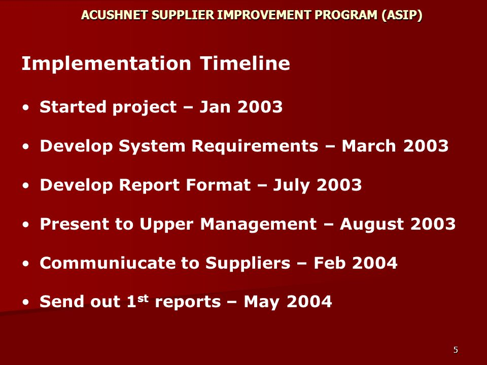 5 ACUSHNET SUPPLIER IMPROVEMENT PROGRAM (ASIP) Implementation Timeline Started project – Jan 2003 Develop System Requirements – March 2003 Develop Report Format – July 2003 Present to Upper Management – August 2003 Communiucate to Suppliers – Feb 2004 Send out 1 st reports – May 2004