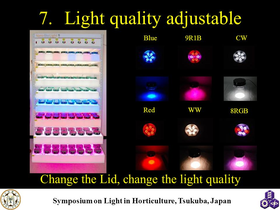 Symposium on Light in Horticulture, Tsukuba, Japan 7.Light quality adjustable Blue9R1BCW RedWW 8RGB Change the Lid, change the light quality