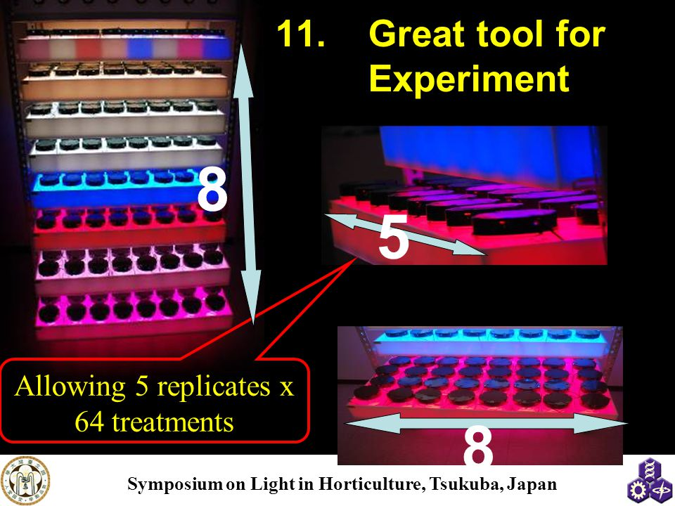 Symposium on Light in Horticulture, Tsukuba, Japan 11.Great tool for Experiment Allowing 5 replicates x 64 treatments 5 8 8