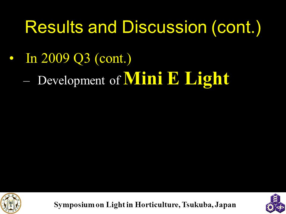 Symposium on Light in Horticulture, Tsukuba, Japan Results and Discussion (cont.) In 2009 Q3 (cont.) –Development of Mini E Light