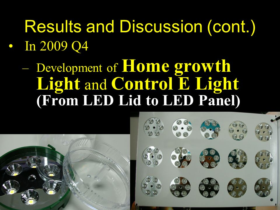 Symposium on Light in Horticulture, Tsukuba, Japan Results and Discussion (cont.) In 2009 Q4 –Development of Home growth Light and Control E Light (From LED Lid to LED Panel)