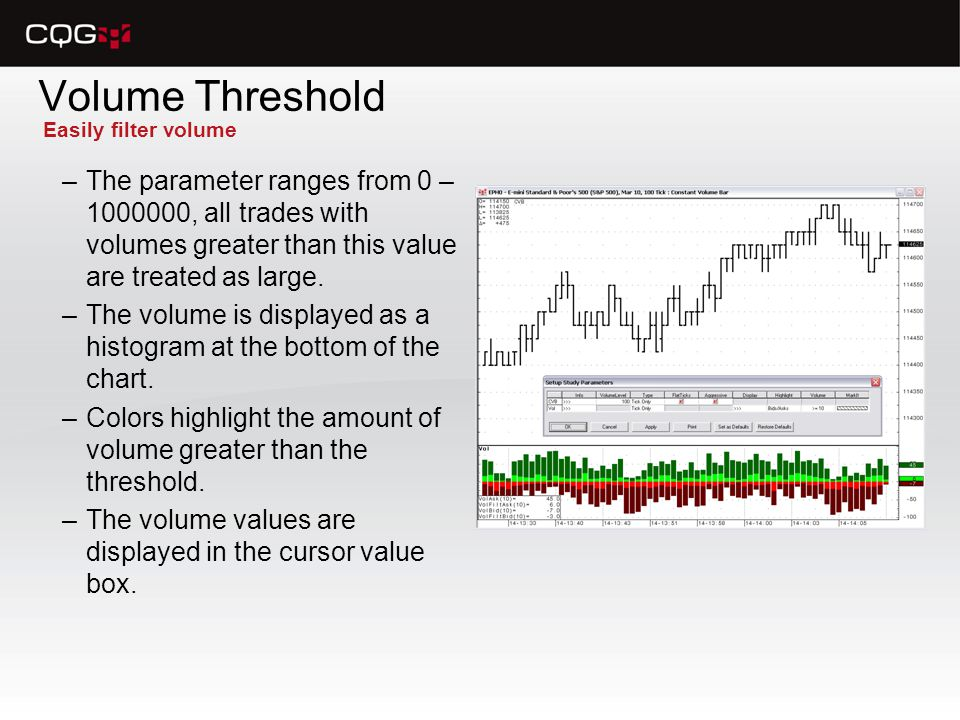 Volume Threshold –The parameter ranges from 0 – 1000000, all trades with volumes greater than this value are treated as large.