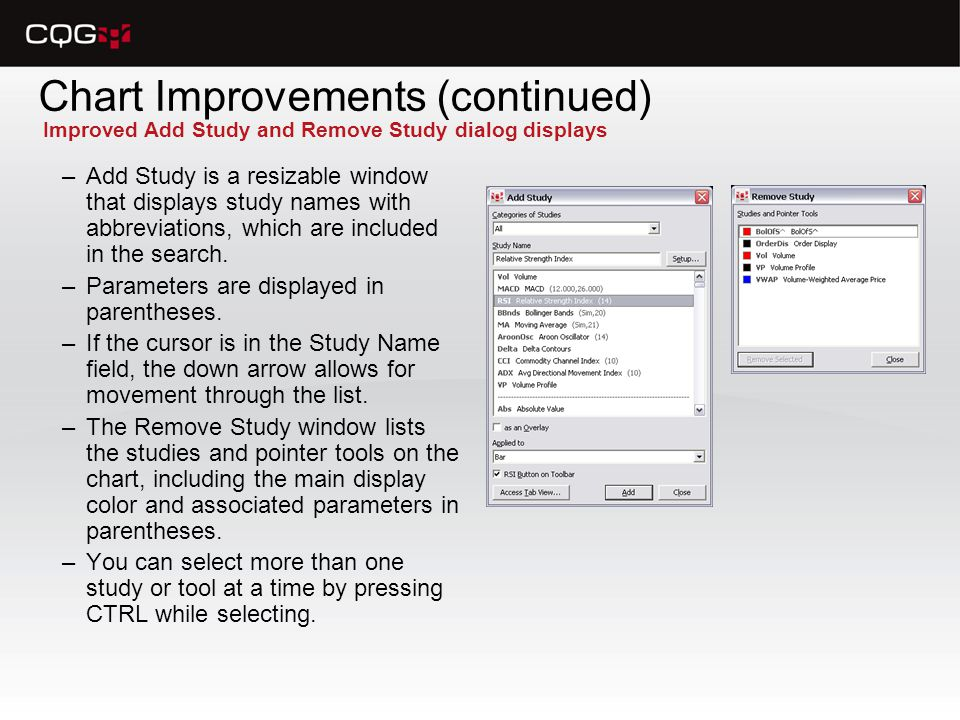 Chart Improvements (continued) –Add Study is a resizable window that displays study names with abbreviations, which are included in the search.
