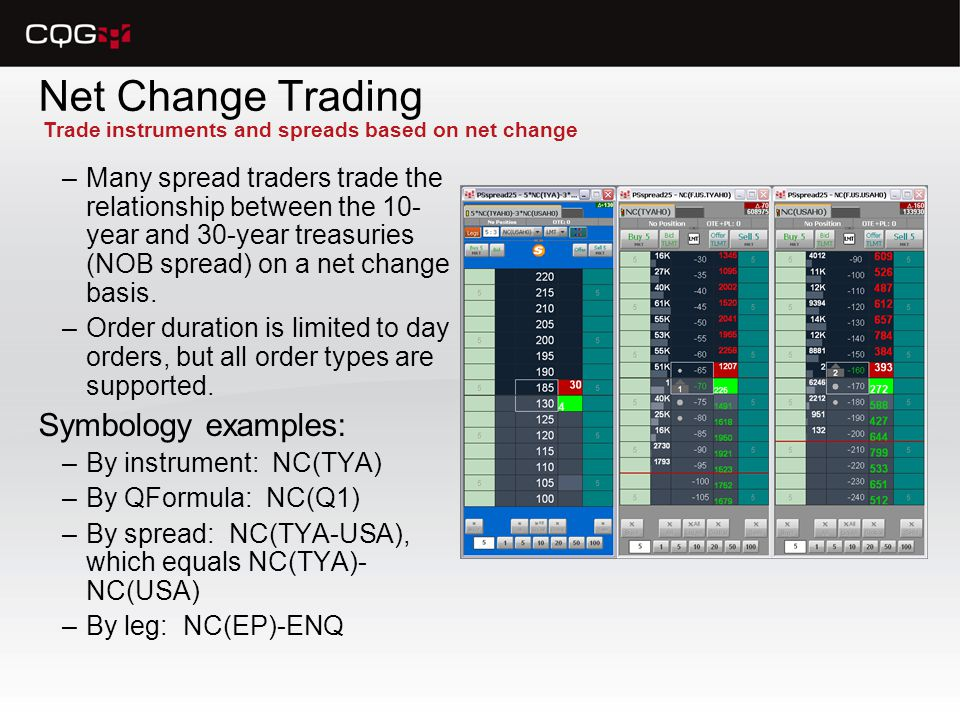 Net Change Trading –Many spread traders trade the relationship between the 10- year and 30-year treasuries (NOB spread) on a net change basis.