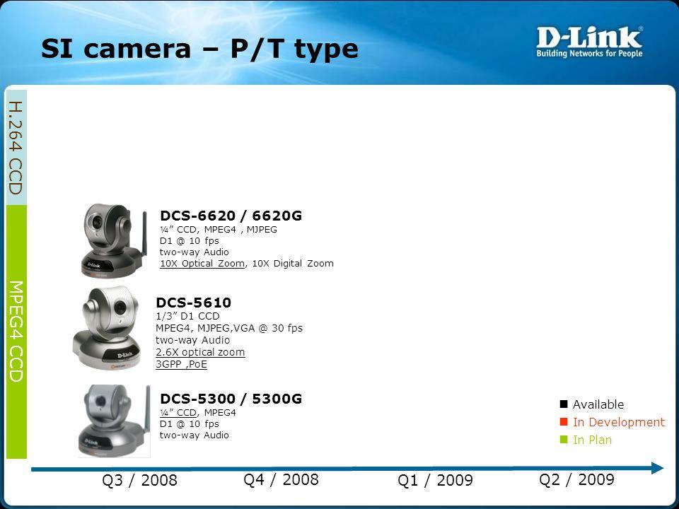 "DCS-5300 / 5300G ¼"" CCD, MPEG4 D1 @ 10 fps two-way Audio DCS-5610 1/3"" D1 CCD MPEG4, MJPEG,VGA @ 30 fps two-way Audio 2.6X optical zoom 3GPP,PoE DCS-6"
