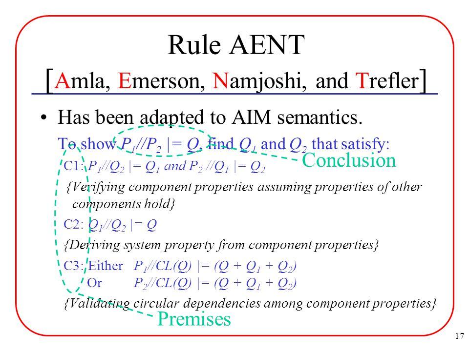 17 Rule AENT [ Amla, Emerson, Namjoshi, and Trefler ] Has been adapted to AIM semantics.
