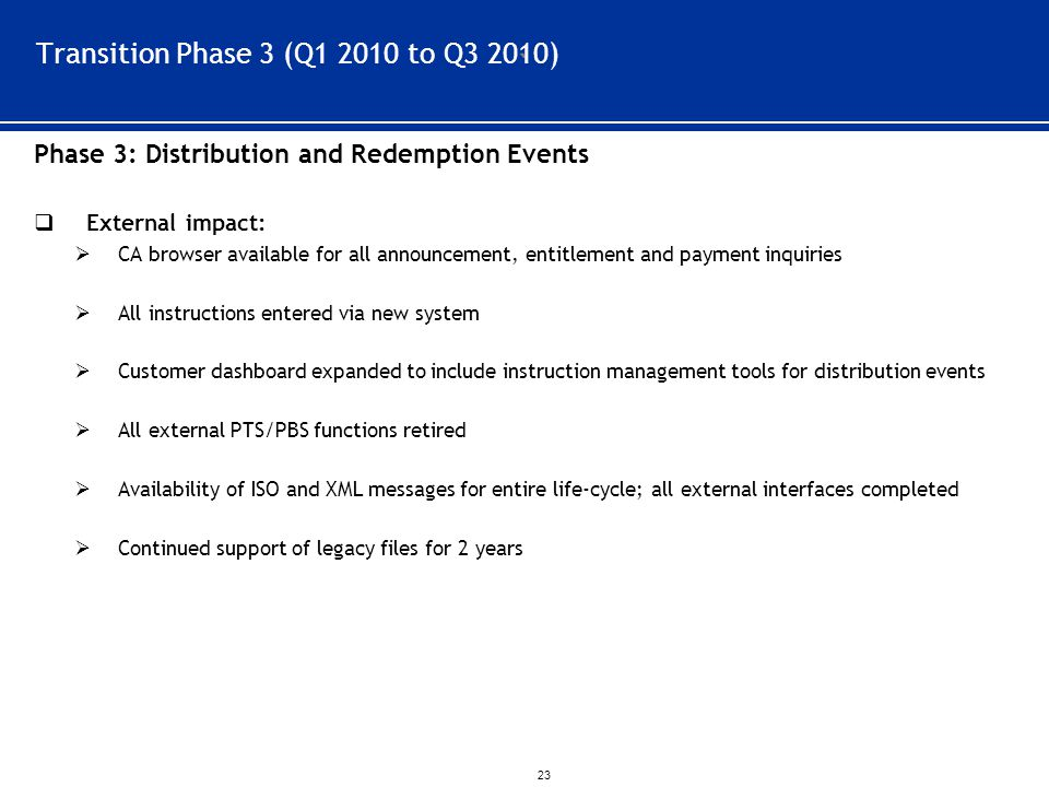 ` 23 Transition Phase 3 (Q1 2010 to Q3 2010) Phase 3: Distribution and Redemption Events  External impact:  CA browser available for all announcement, entitlement and payment inquiries  All instructions entered via new system  Customer dashboard expanded to include instruction management tools for distribution events  All external PTS/PBS functions retired  Availability of ISO and XML messages for entire life-cycle; all external interfaces completed  Continued support of legacy files for 2 years