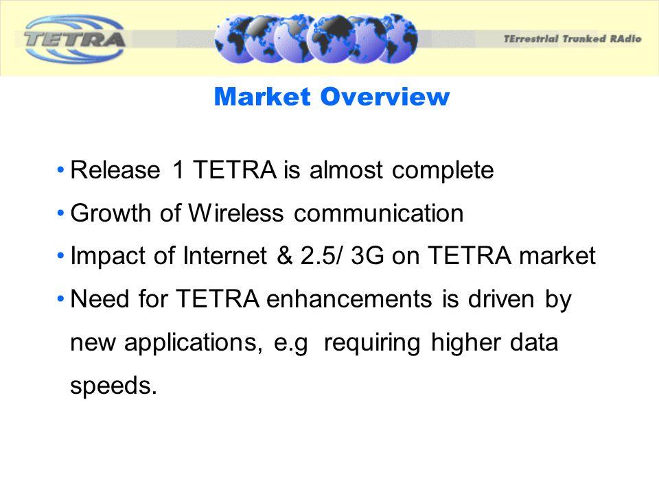 TETRA Release 2 Services & Facilities Not a new Standard but enhancement of the various aspects of TETRA Release 1, viz.
