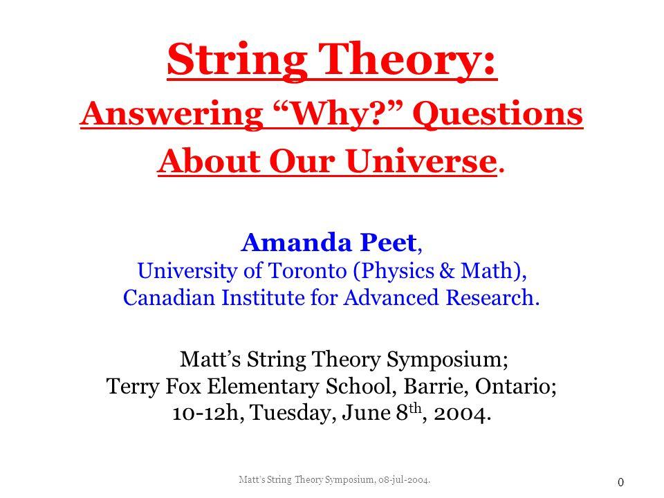 Matt's String Theory Symposium, 08-jul-2004.