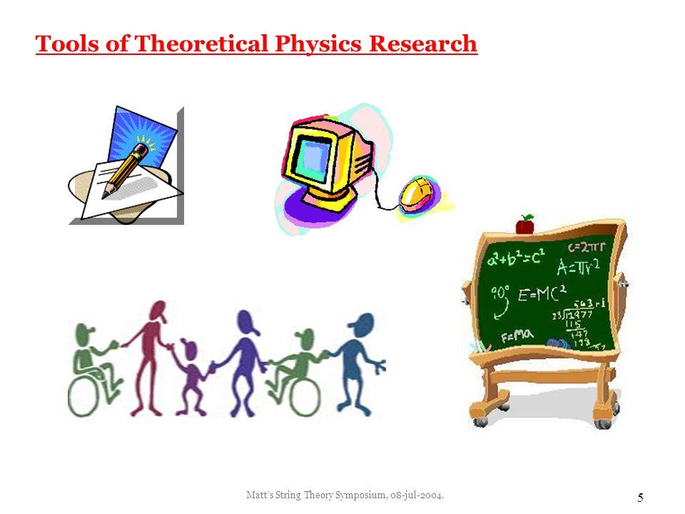 Matt's String Theory Symposium, 08-jul-2004. 6 Tools of Experimental Physics Research