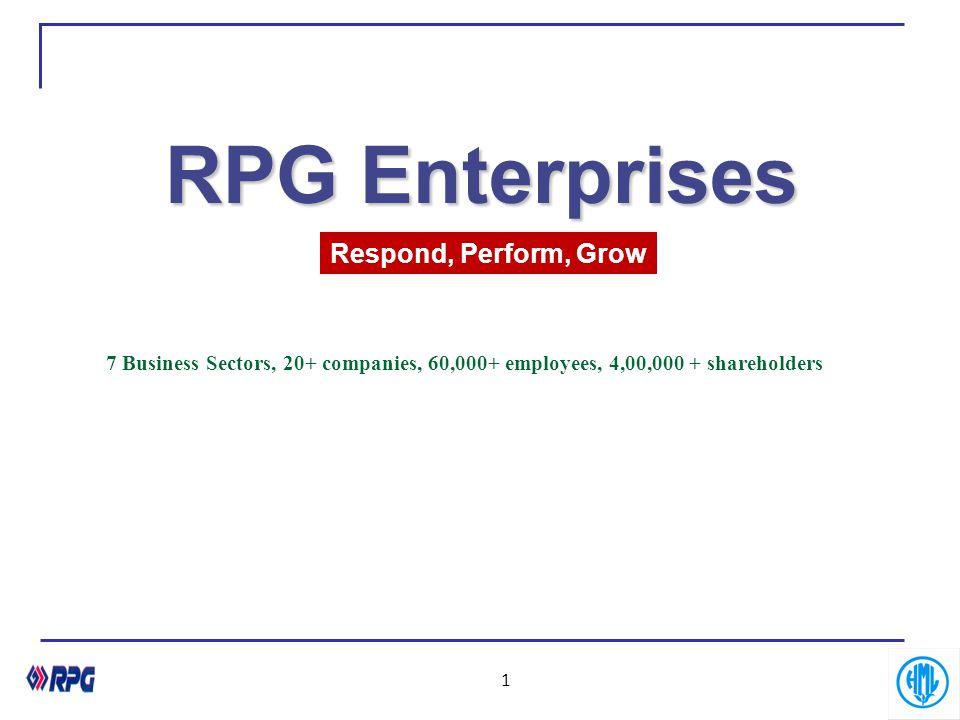 1 RPG Enterprises 7 Business Sectors, 20+ companies, 60,000+ employees, 4,00,000 + shareholders Respond, Perform, Grow
