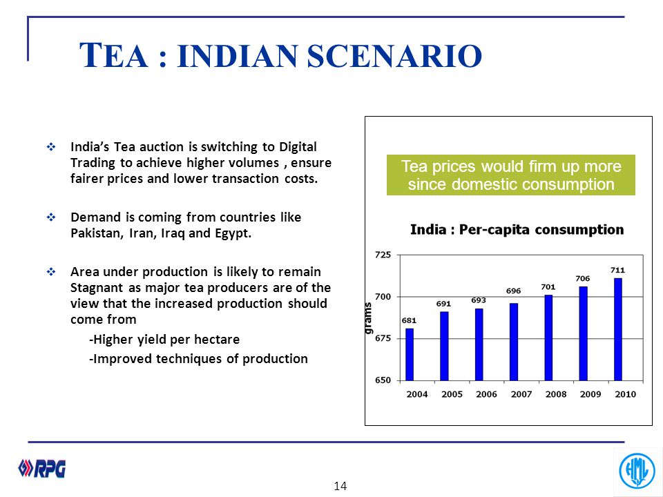T EA : INDIAN SCENARIO  India's Tea auction is switching to Digital Trading to achieve higher volumes, ensure fairer prices and lower transaction cos